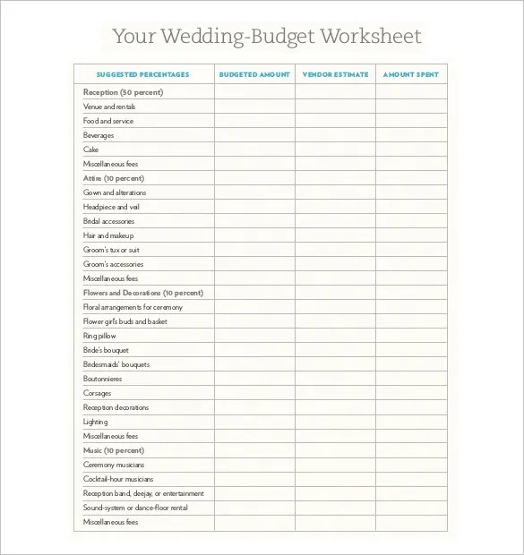 Wedding Budget Template  16 Free Word Excel PDF Documents Download  Free  Premium Templates