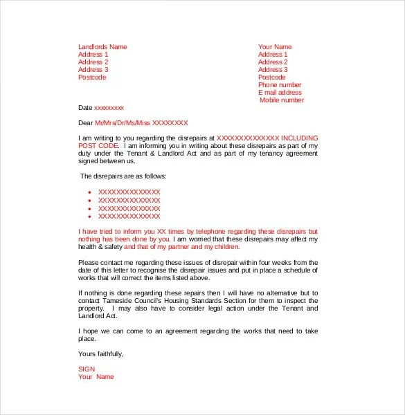 12 Complaint Letter to Landlord  Free Sample Example
