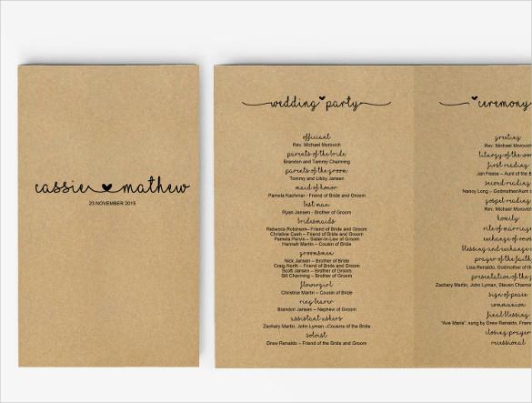 Wedding Program Template 41 Free Word PDF PSD Documents Download Free Premium Templates