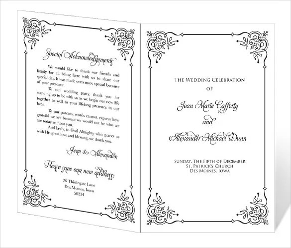 Wedding Programs Templates Free - Wedding Invitation Sample