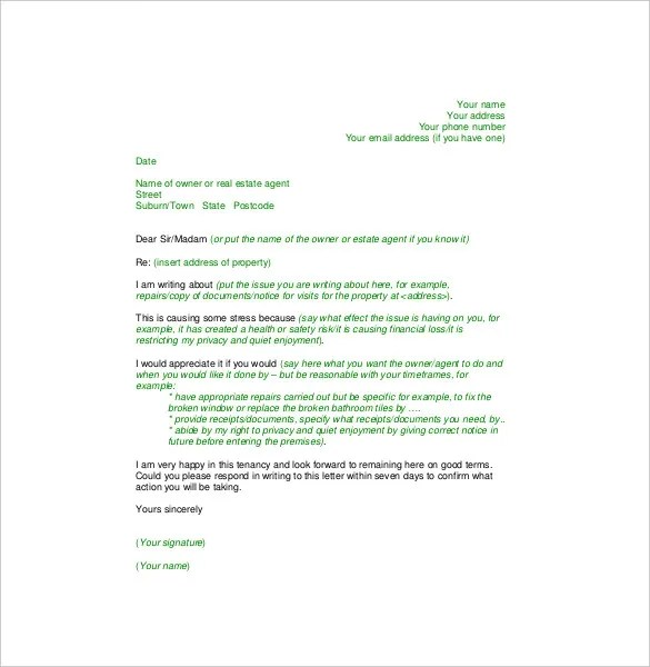 How To Write A Letter Of Complaint To Landlord  Docoments Ojazlink