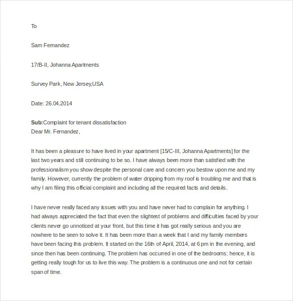 Sample of complaint letter to apartment management nice apartement 9 tenant complaint letter templates free sample example thecheapjerseys Images