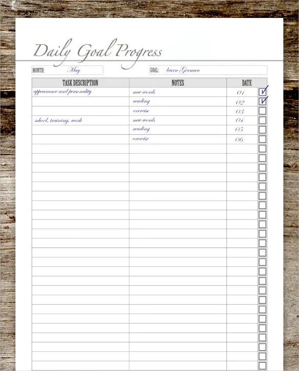 goal tracking chart template