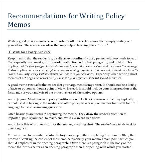 Policy Memo Template 15 Word PDF Google Docs