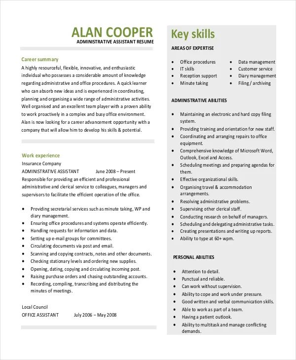 template cv executive assistant
