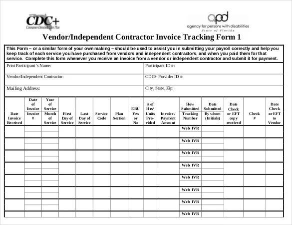 vendor tracking template