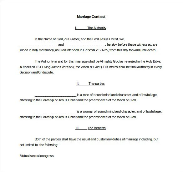 Marriage Contract Template Marriage Contract Template Marriage