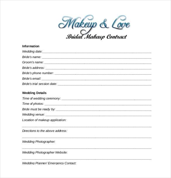 Bridal Makeup Contract Pdf