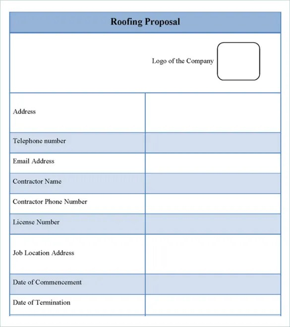 Roofing Estimates Templates Free Download Champlain