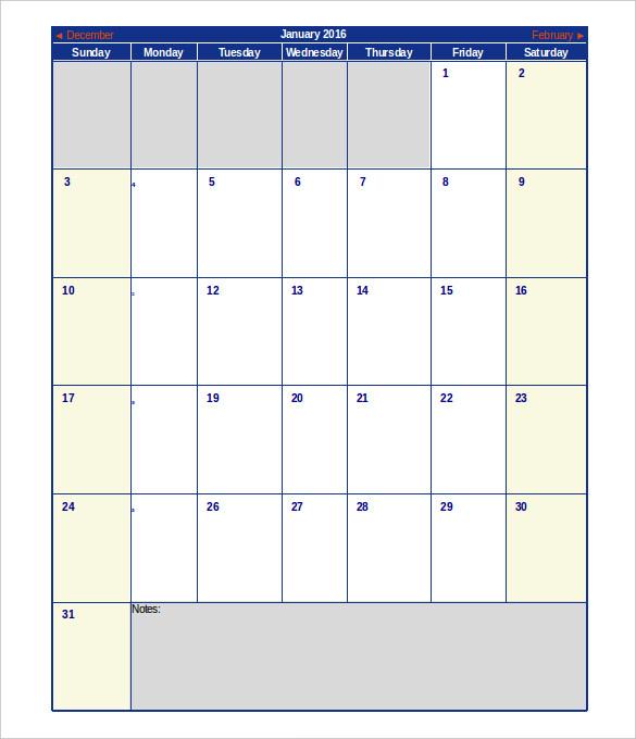 2016 Calendar Template | mwb-online co