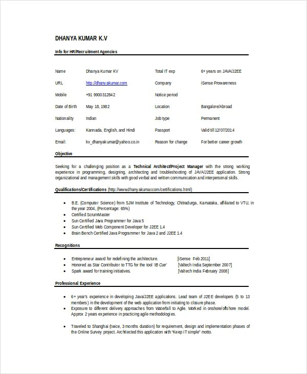 Architect Resume Template 5 Free Word Pdf Doents  Technical Architect Resume