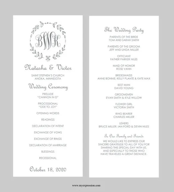 Wedding Program Template Word File