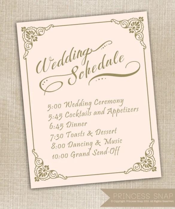 17 Wedding Schedule Templates PSD PDF DOC XLS Free