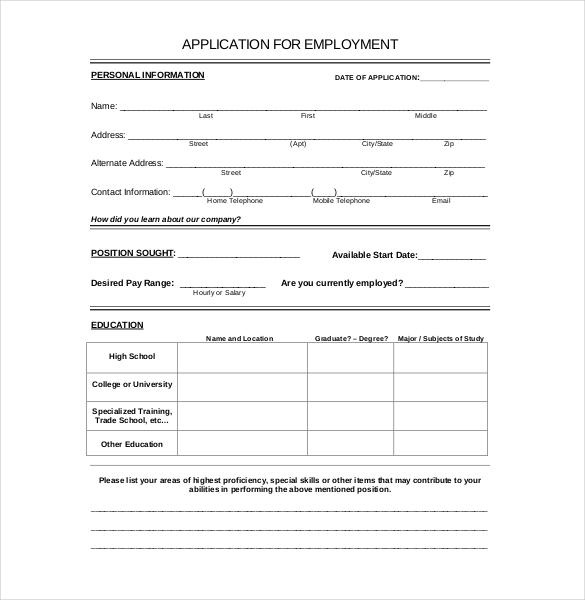 california general job application printable resume cover letter