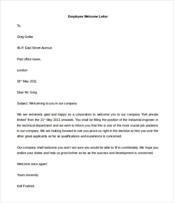 welcome letter templates