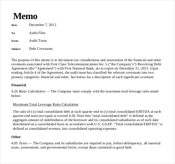 19 Audit Memo Templates  Sample Word Google Docs Format