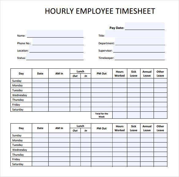22+ Employee Timesheet Templates  Free Sample, Example