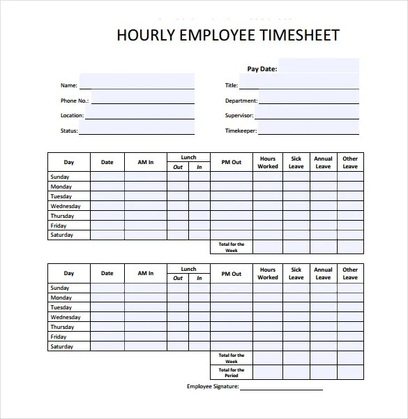 18+ Hourly Timesheet Templates