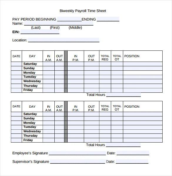 printable bi weekly time sheets