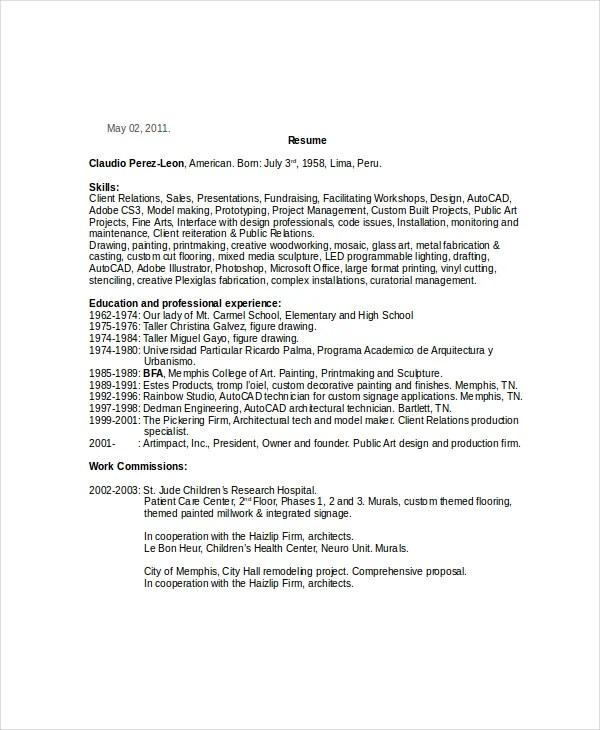 9 Painters Resume Templates  PDF DOC  Free  Premium