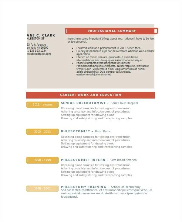 Resume For Phlebotomy Technician