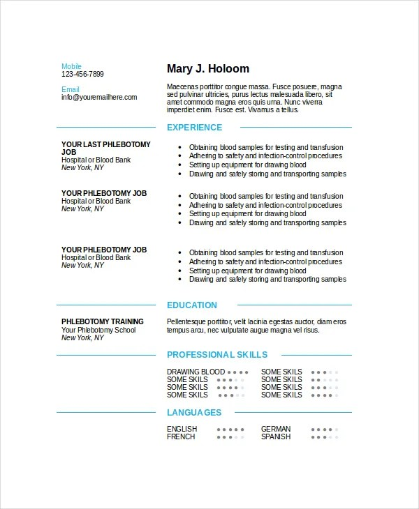 Phlebotomy Resume Template 6 Free Word PDF Documents Download