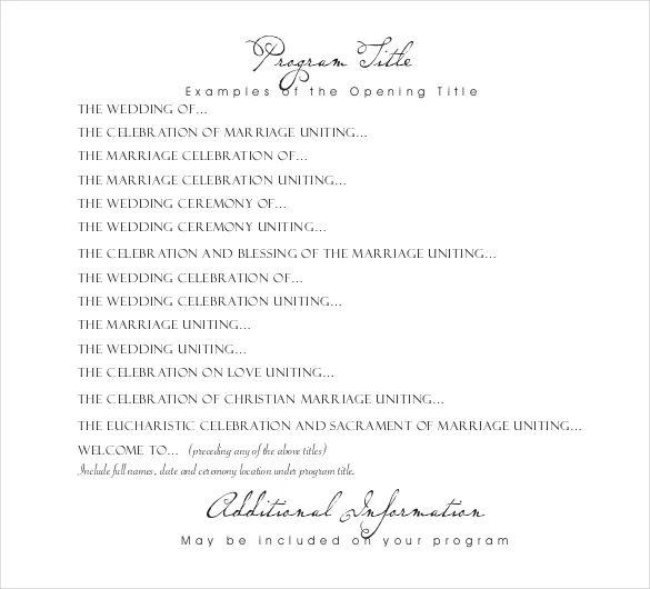 wedding reception programme template