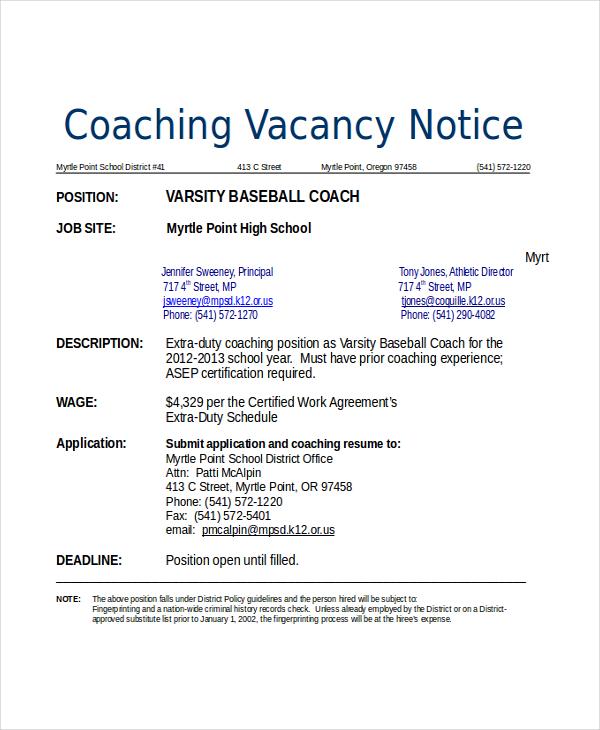 football coach resume template