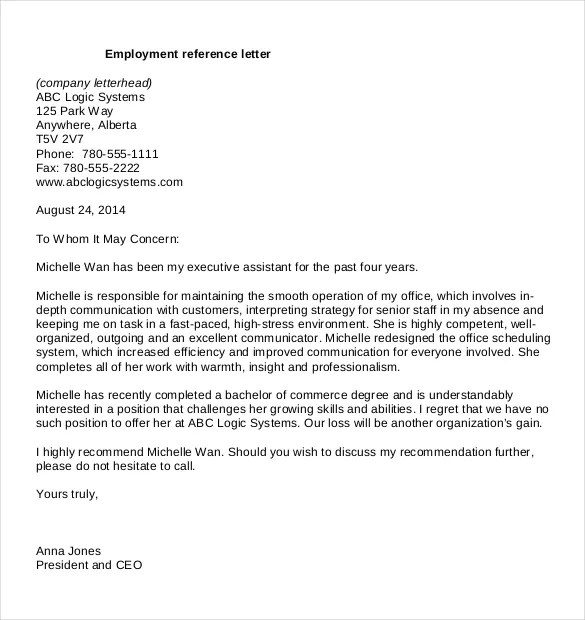 Reference Letter Templates 18 Free