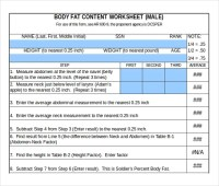 Apft Body Fat Worksheet