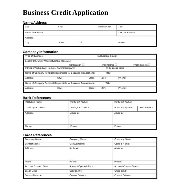 15+ Credit Application Templates  Free Sample, Example