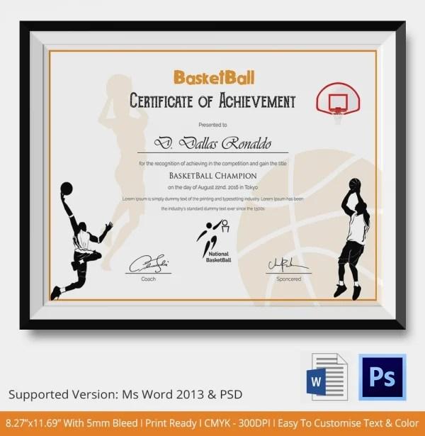 basketball mvp certificate template - certificate of achievement