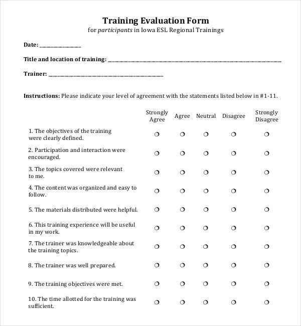 employee evaluation example