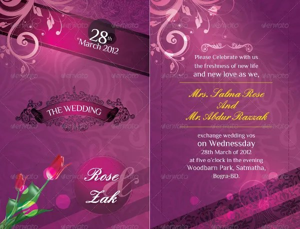 Modern Wedding Invitation Card Template Psd Premium