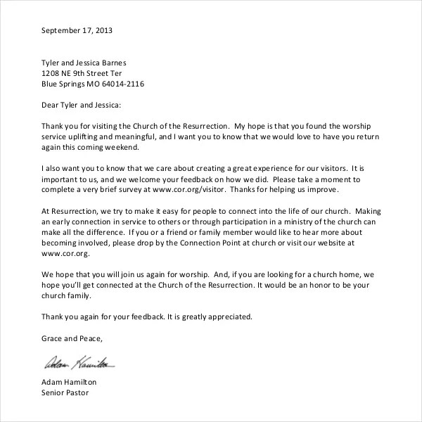 Church Welcome Letter Sample