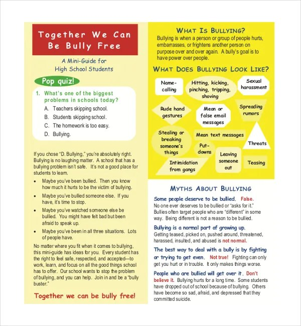 Bullying Brochure Template – 11 Free PDF Documents Download Free