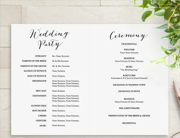 25 Wedding Program Templates  PSD AI EPS Publisher  Free  Premium Templates
