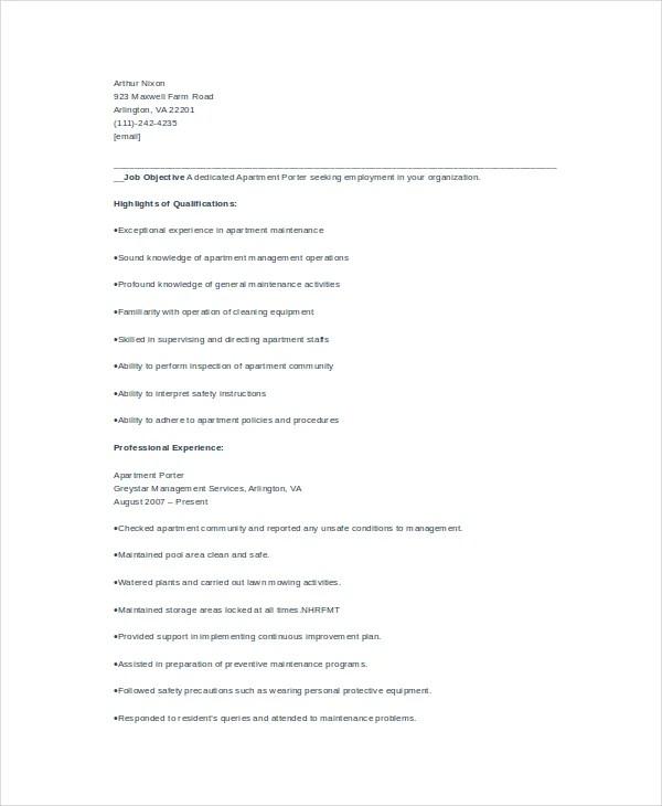 Porter Dealership Automotive Resume