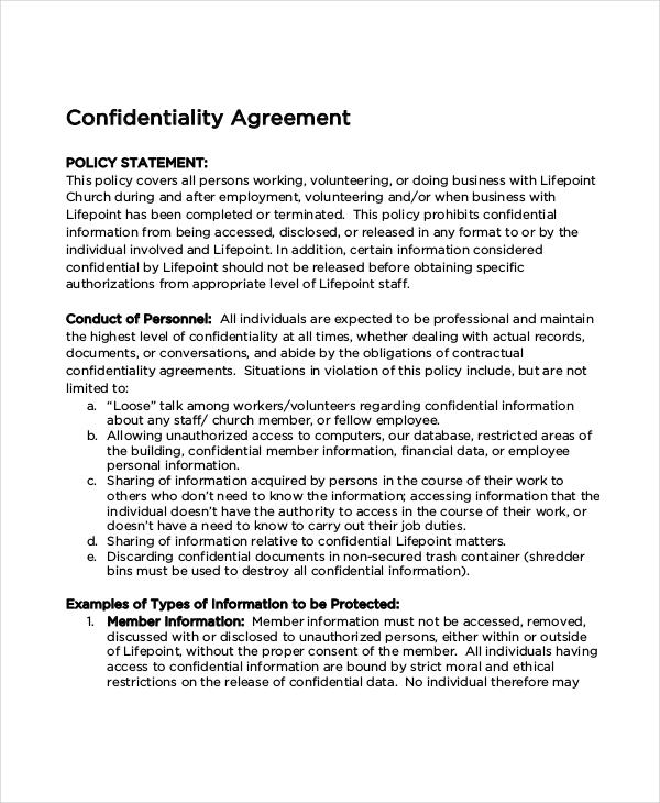 Church Confidentiality Agreement – 9 Free Word PDF