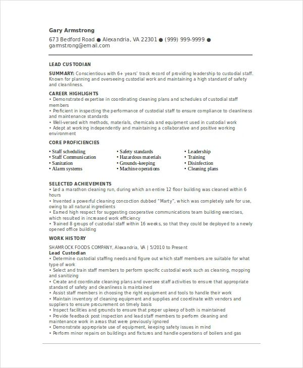 sample custodian resume template