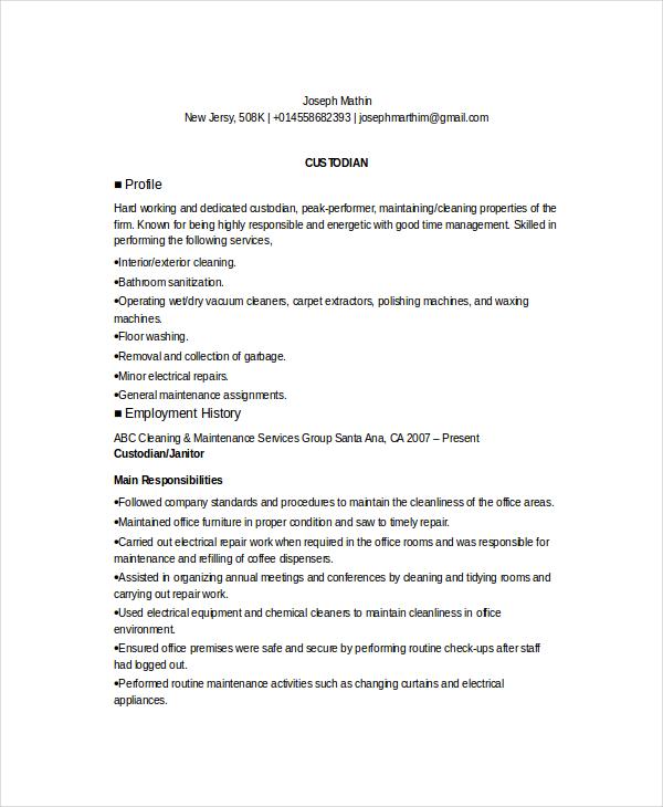 custodian resume responsibilities