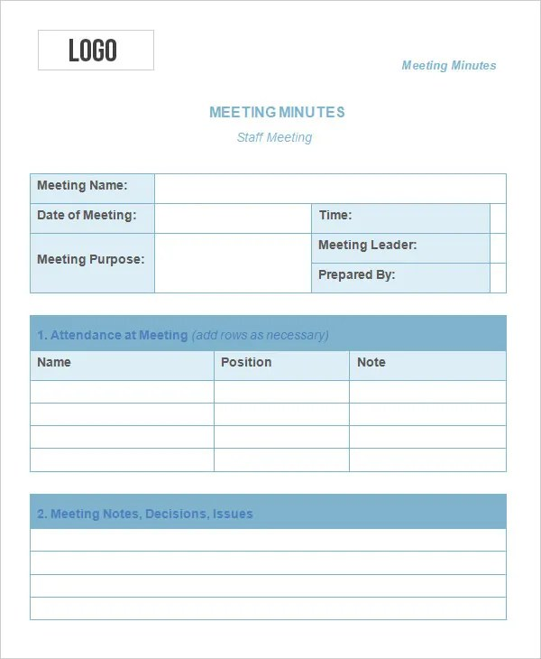 Meeting Minutes Template | Free Business Templates