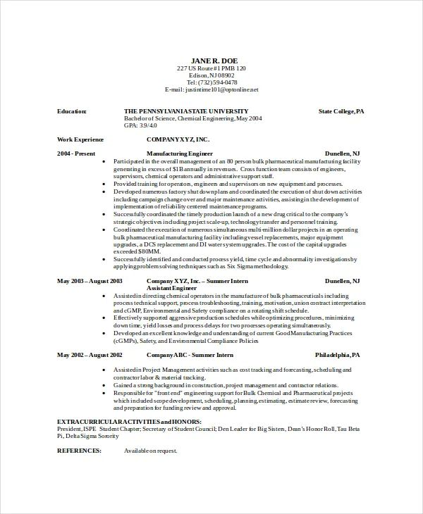 cv examples chemical engineering