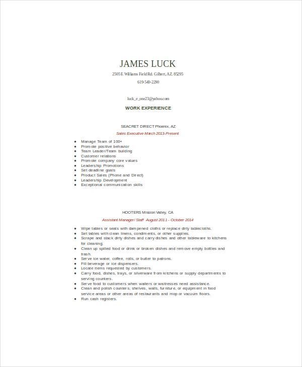 6 Food Service Resume Templates PDF DOC Free