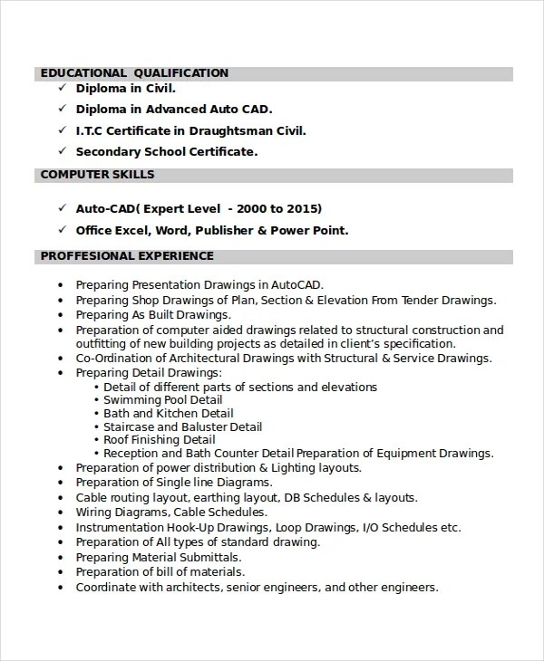 Autocad Resume Template 8 Free Word PDF Document