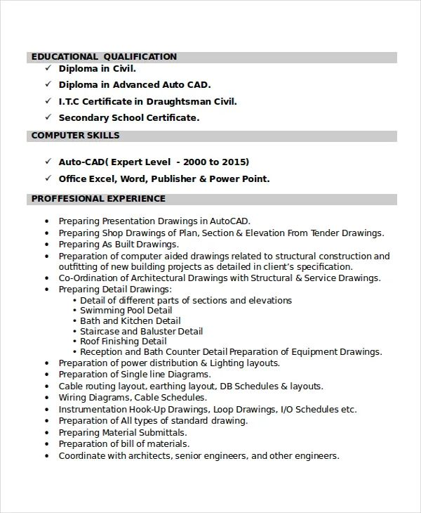 mechanical draftsman resume templates