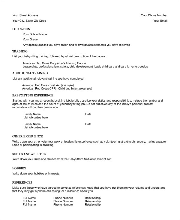 Babysitter Resume Template  6 Free Word PDF Documents Download  Free  Premium Templates