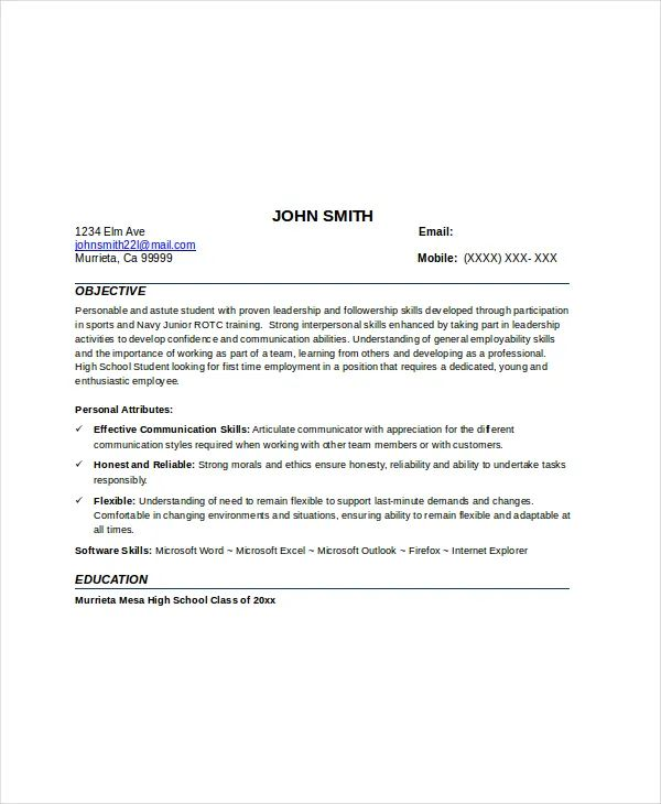 resume format with no work experience