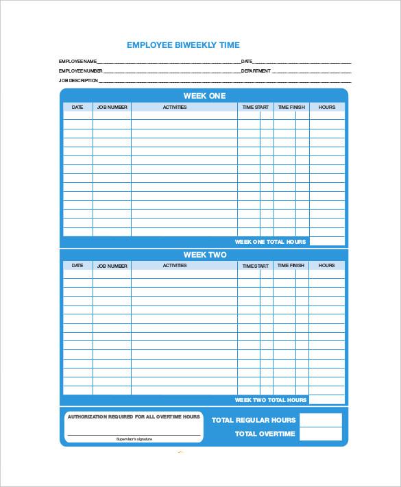 weekly employee time sheet
