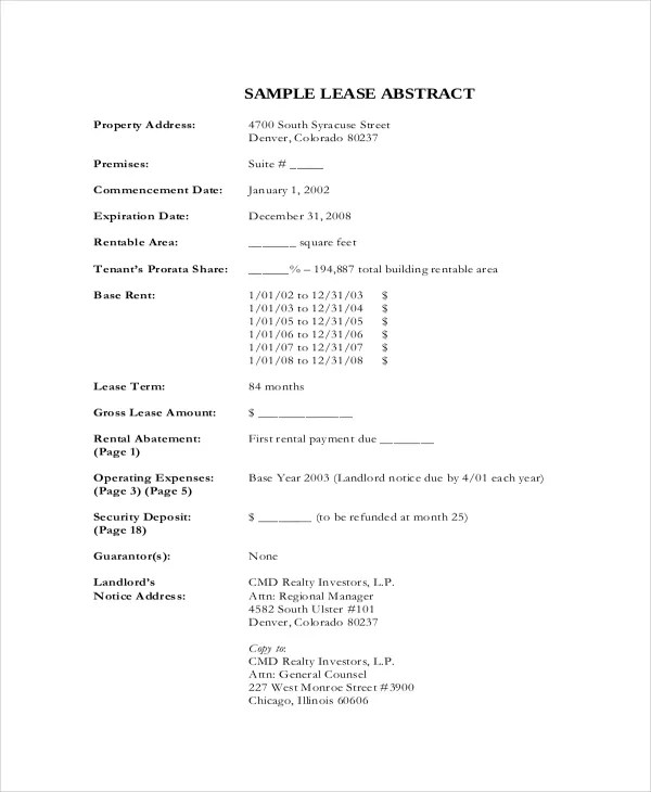 Lease Template – 20 Free Word PDF Documents Download
